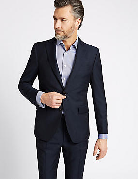 Navy Textured Regular Fit Wool Suit