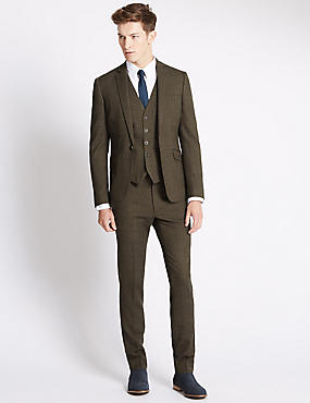 Brown Textured Modern Suit Including Waistcoat