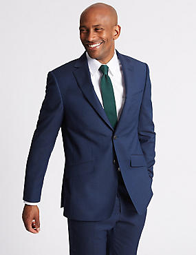 Big & Tall Indigo Textured Regular Wool Suit, , catlanding