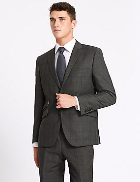 Big & Tall Grey Tailored Fit Wool Suit, , catlanding