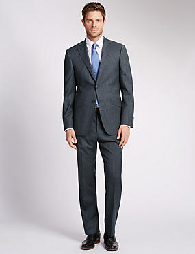 Grey Striped Regular Fit Wool Suit