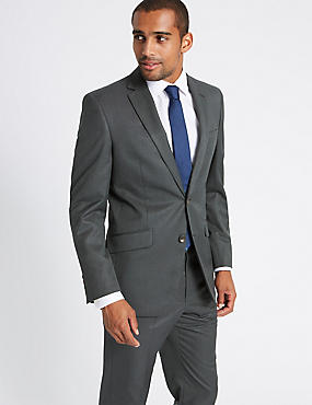 Charcoal Textured Regular Fit Suit