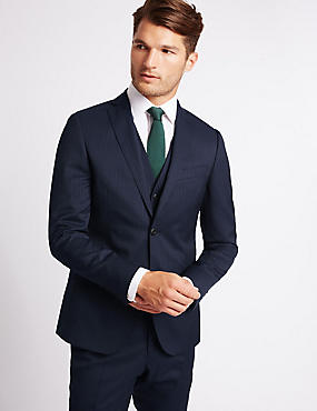 Navy Striped Slim Fit Wool 3 Piece Suit, , catlanding