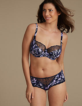 Floral Embroidered Set with Non-Padded Balcony DD-GG, , catlanding