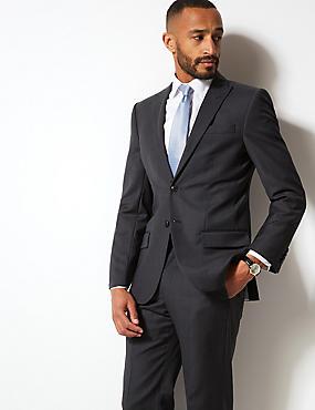 Herringbone Regular Fit Wool Suit, , catlanding