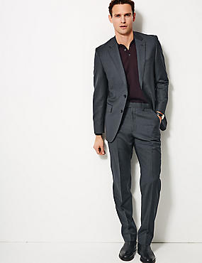 Striped Tailored Fit Wool Suit, , catlanding