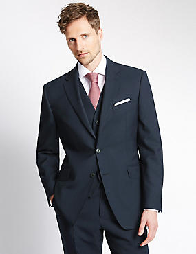 Big & Tall Navy Regular Fit Wool 3 Piece Suit, , catlanding