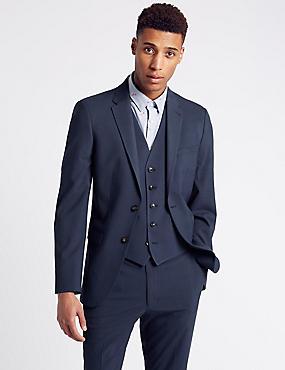 Indigo Checked Slim Fit 3 Piece Suit, , catlanding