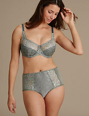 Jacquard Lace Set with Underwired Full Cup A-H, , catlanding