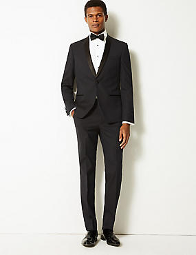 Navy Textured Slim Fit Tuxedo Suit, , catlanding