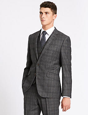 Charcoal Tailored Fit Wool 3 Piece Suit