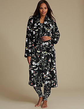 Floral Print Pyjama Set with Dressing Gown