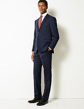 Indigo Checked Tailored Fit Wool Suit, , catlanding