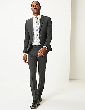 Charcoal Textured Modern Slim Fit Suit, , catlanding