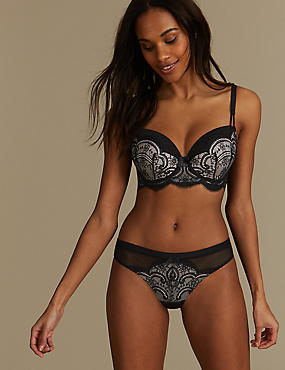 Lace Set with Padded Balcony A-E