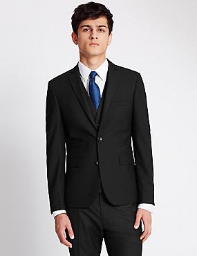 Black Super Slim Fit Suit Including Waistcoat