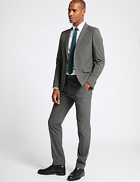 Grey Textured Modern Slim Fit Suit, , catlanding