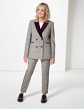 Checked Blazer & Trousers Suit Set, , catlanding