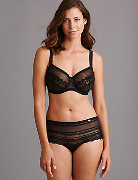 Victoriana Embroidered Set with Non-Padded Minimiser Full Cup B-G