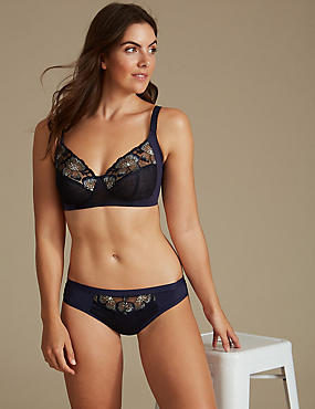 Floral Embroidered Set with Non-Wired Full Cup B-E