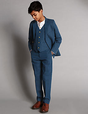 Linen Blend 2 Button Suit Including Waistcoat (5-14 Years)