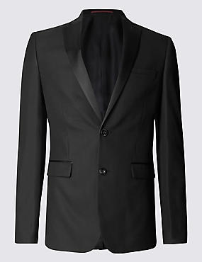 Black Textured Super Slim Suit