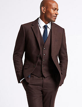 Burgundy Textured Tailored Fit 3 Piece Suit, , catlanding