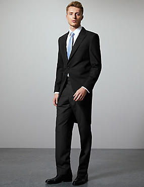 Black Regular Fit Wool Blend Morning Suit, , catlanding
