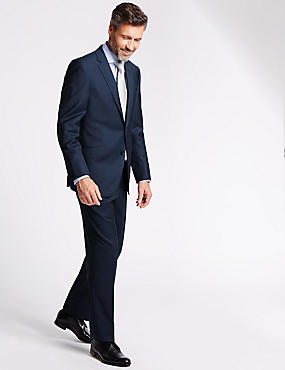 Navy Pinstriped Tailored Fit Suit