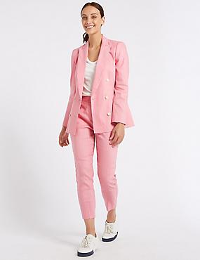 Linen Rich Blazer & Slim Leg Trousers , , catlanding