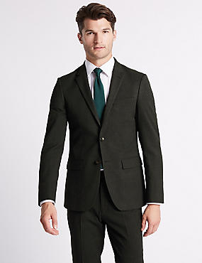 Charcoal Textured Slim Fit Suit, , catlanding