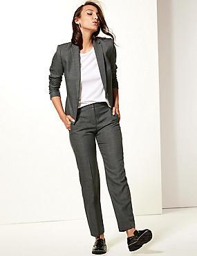Checked Blazer & Straight Leg Trousers , , catlanding