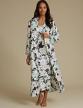 Satin Floral Print Nightdress Set with Dressing Gown
