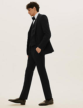 Black Textured Slim Fit 3 Piece Suit, , catlanding