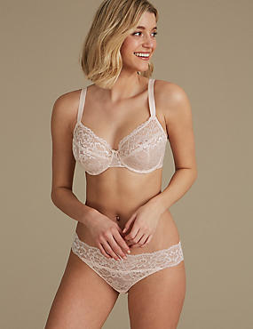 Lace Non-Padded Set with Full Cup B-DD, , catlanding