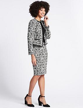 Jacquard Blazer & Pencil Skirt Suit Set, , catlanding