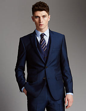 Blue Tailored Fit Suit with Waistcoat