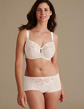 Floral Embroidered Set with Non Padded Full Cup DD-H