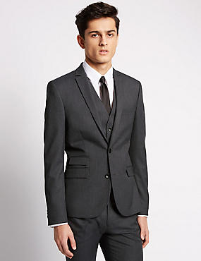 Charcoal Super Slim Fit Suit including Waistcoat