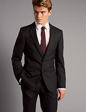 Charcoal Slim Fit Italian Wool Suit, , catlanding