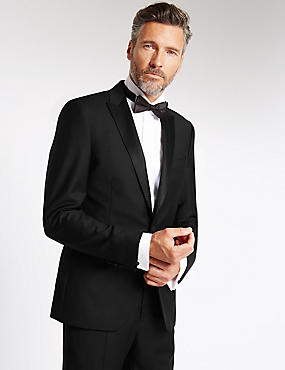 Black Tailored Fit Wool Tuxedo Suit