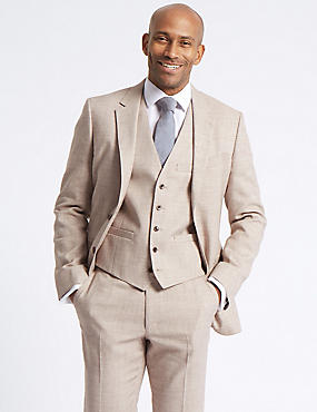 Linen Miracle Tailored Fit 3 Piece Suit, , catlanding