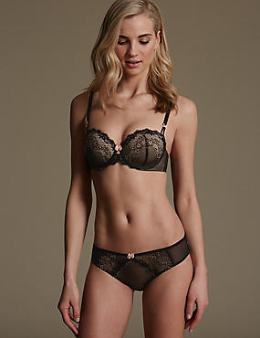 Lace Set with Underwired Padded Balcony A-E
