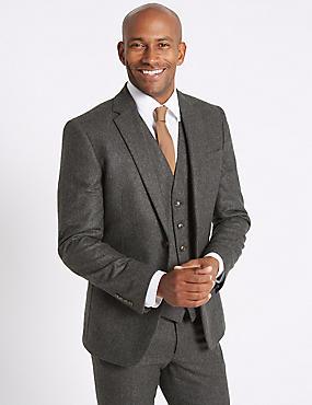 Charcoal Wool Blend 3 Piece Suit, , catlanding