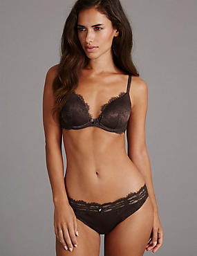 Jacquard Lace with Padded Plunge A-E