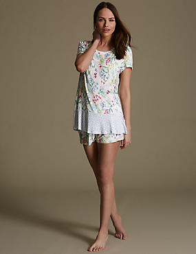 Peplum Botanical Floral Short Pyjama Set