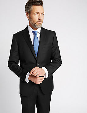 Black Tailored Fit Wool Suit