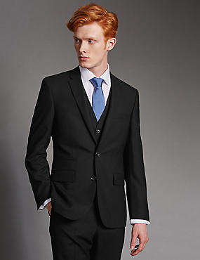 Black Tailored Fit Wool 3 Piece Suit