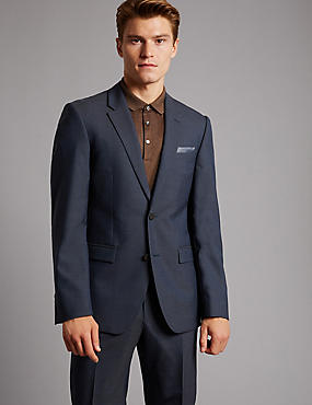 Navy Tailored Fit Italian Wool Suit, , catlanding