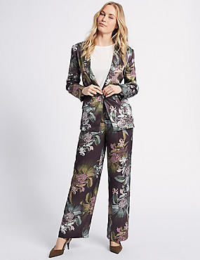 Floral Print Blazer & Trousers Suit Set
